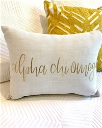 Gold Script Throw Pillow - Alpha Chi