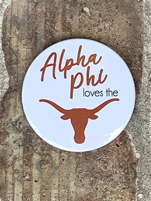 Alpha Phi White Loves the Horns Pin / Button