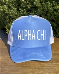 Blue Trucker Hat - Alpha Chi
