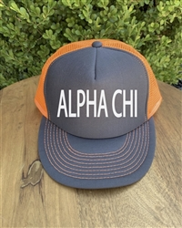 Neon Orange/Gray Trucker Hat - Alpha Chi