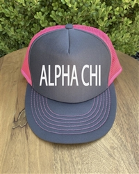 Neon Pink/Gray Trucker Hat - Alpha Chi