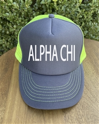 Neon Yellow/Gray Trucker Hat - Alpha Chi