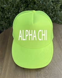 Neon Yellow Trucker Hat - Alpha Chi