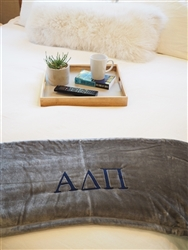 Alpha Delta Pi Grey Plush Blanket - Grey