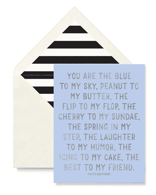 You Are the Blue to My Sky Card