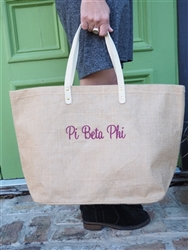 Sorority Jute Tote - Pi Beta Phi