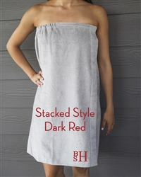 Gray Towel Wrap - Stacked - Dark Red