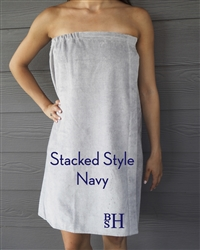 Gray Towel Wrap - Stacked - Navy