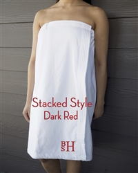 White Towel Wrap - Stacked - Dark Red