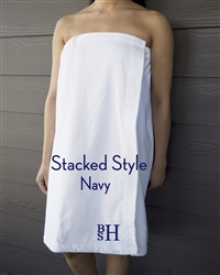White Towel Wrap - Stacked - Navy
