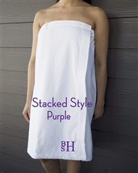 White Towel Wrap - Stacked - Purple