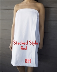 White Towel Wrap - Stacked - Red