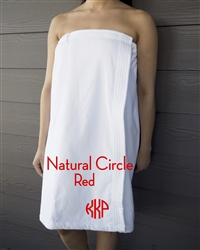 White Towel Wrap - NC - Red
