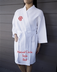 White Waffle Robe - NC - Red
